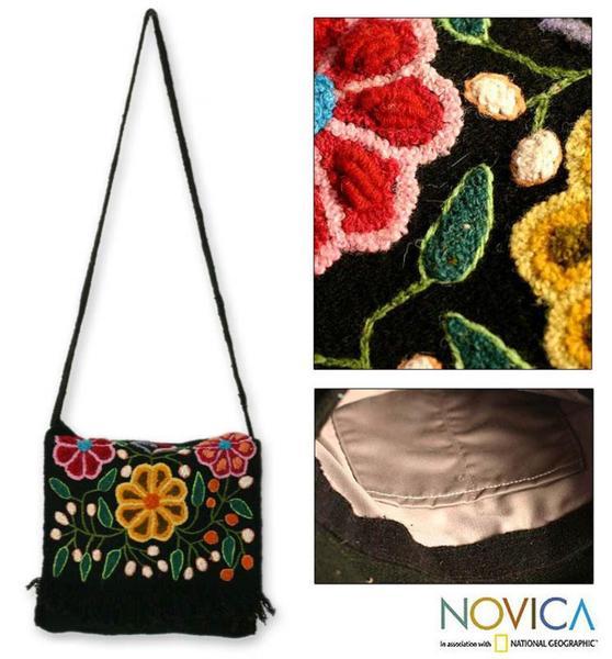 Wool 'Tarma Muse' Medium Flap Shoulder Bag (Peru)