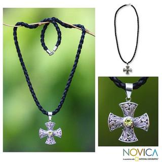 Handmade Sterling Silver 'Light of Faith' Peridot Necklace (Indonesia)