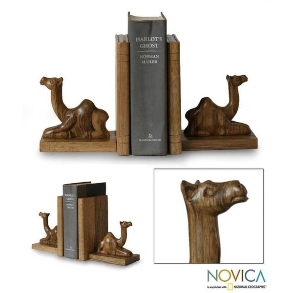 African Wood Bookends Pair 2 Hand Carved 'Sahara Camel