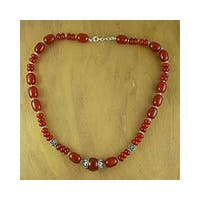Sterling Silver 'Ardent' Carnelian Necklace (India)