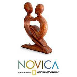 Handmade Wood 'True Love' Sculpture (Indonesia)