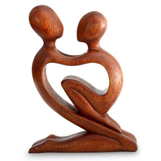 Handmade Wood 'True Love' Sculpture (Indonesia)
