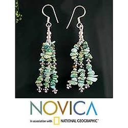 Handmade Sterling Silver 'Rejoice' Turquoise Waterfall Earrings (India)