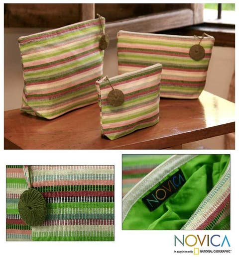 Handmade Set of 3 Cotton 'Strawberry Lime' Cosmetic Bags (Guatemala)