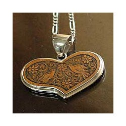 Sterling Silver 'Lovebirds' Mate Gourd Heart Necklace (Peru)