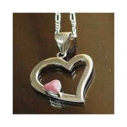 Handmade Sterling Silver 'Secret Love' Rhodonite Heart Necklace (Peru)
