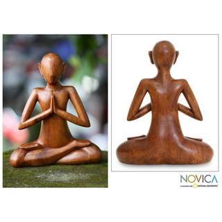 Handmade Wood 'Meditating' Sculpture (Indonesia)