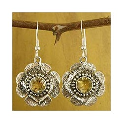 Sterling Silver 'Buttercups' Citrine Flower Earrings (India)