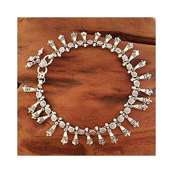Sterling Silver 'Traditional Dancers' Anklet (India)