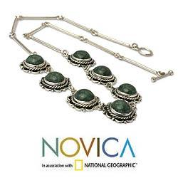 Sterling Silver 'Antigua Sun' Jade Necklace (Guatemala) - Thumbnail 1
