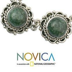 Sterling Silver 'Antigua Sun' Jade Necklace (Guatemala) - Thumbnail 2