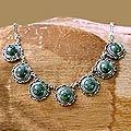 Sterling Silver 'Antigua Sun' Jade Necklace (Guatemala)