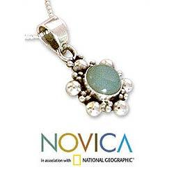 Sterling Silver 'Daisy Sky' Blue Chalcedony Jewelry Set (India) - Thumbnail 2