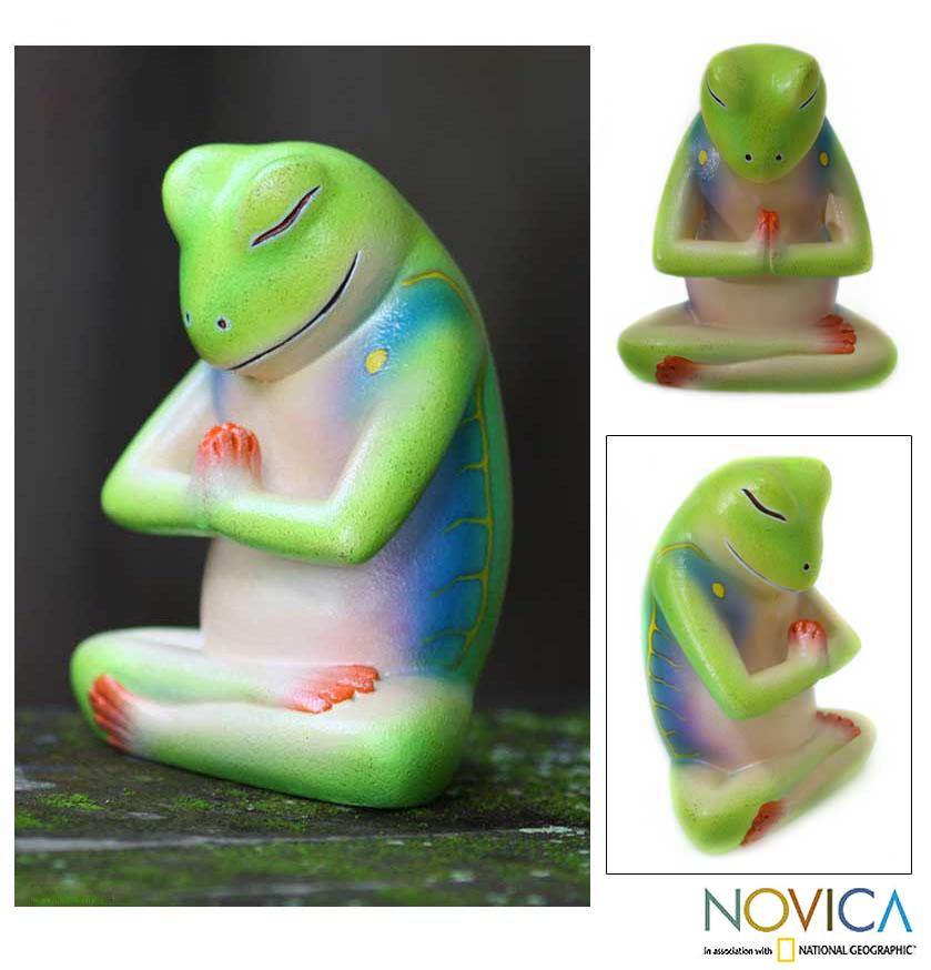 Handmade Wood 'Froggie Prayer' Sculpture (Indonesia)
