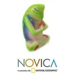 Handmade Wood 'Froggie Prayer' Sculpture (Indonesia) - Thumbnail 2