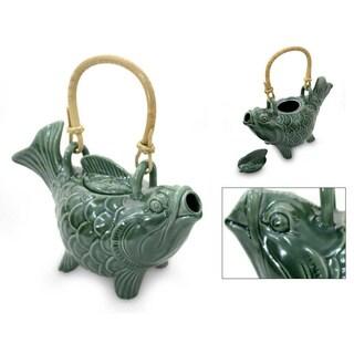 Handmade Ceramic 'Lucky Koi' Teapot (Indonesia)