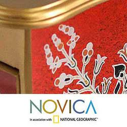 Reverse-painted Glass 'Scarlet Splendor' Jewelry Box (Peru)