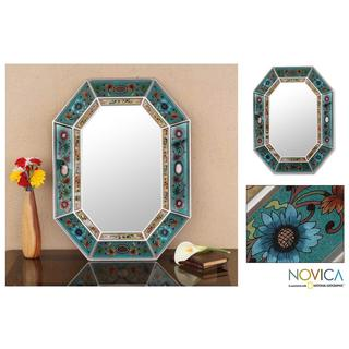 Infinite Aqua Artisan Handmade Reverse Painted Glass Blue Red Floral Bronze Hallway Bedroom Bathroom Accent Wall Mirror (Peru)
