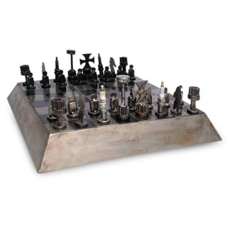 Rustic Pyramid Game Handcrafted from Reclaimed Weathered and Steel Gray Metal Auto Parts Collectible Recycled Chest Set (Mexico)