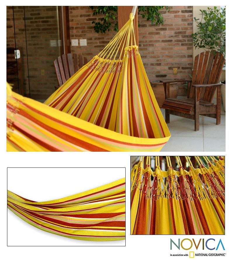 Medium image of handmade cotton  u0027sunny brazil u0027 hammock  brazil    free shipping today   overstock     13648201