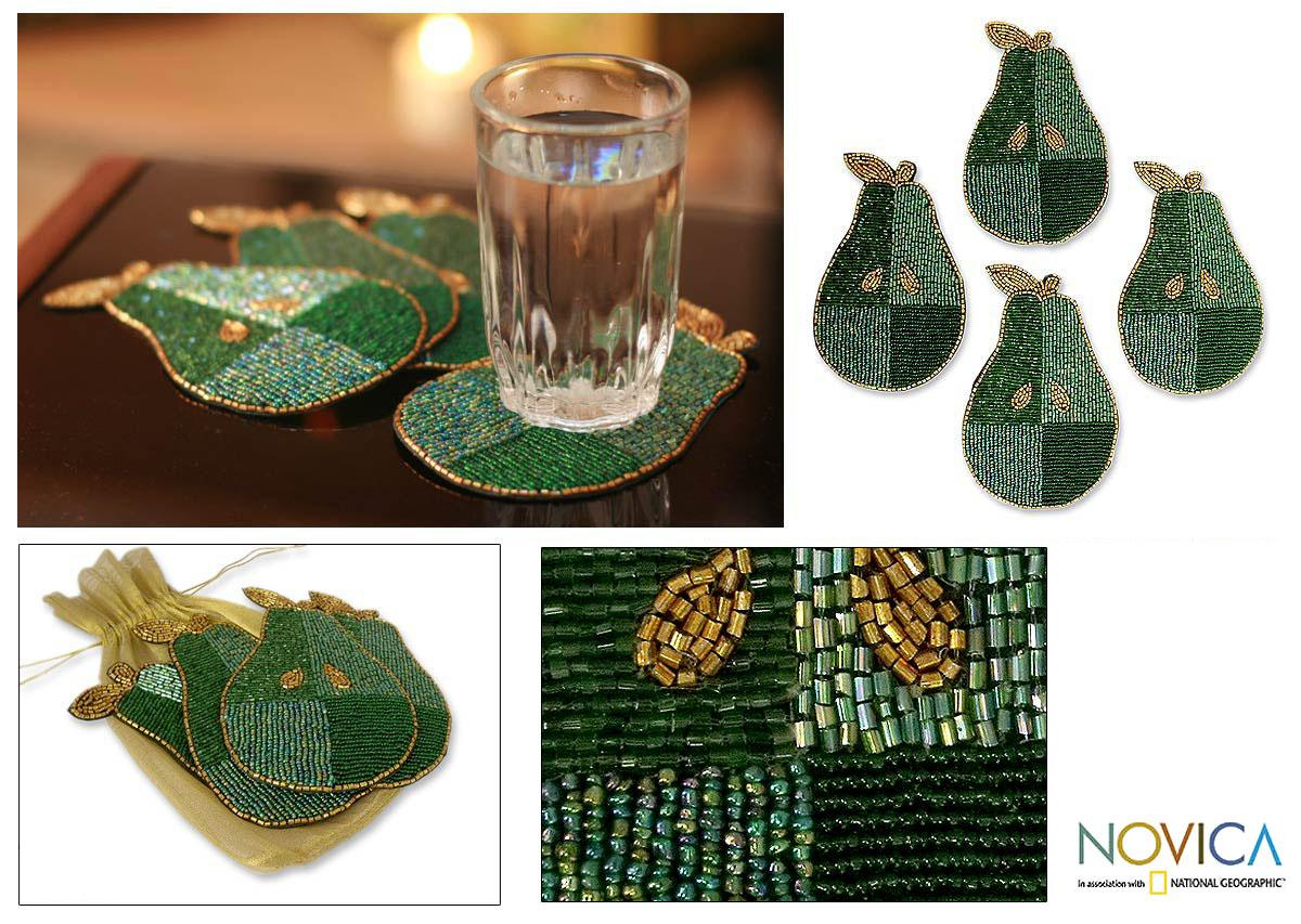 Handmade Set of 4 'Mint Pear' Beaded Coasters (India)