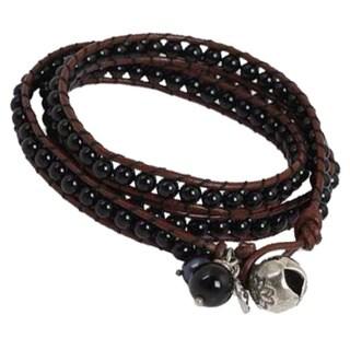 Handmade Silver 'New Tribal' Leather and Onyx Wrap Bracelet (Thailand)