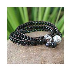 Handmade Silver 'New Tribal' Leather and Onyx Wrap Bracelet (Thailand)