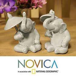 Set of 2 Celadon Ceramic 'Chiang Mai Elephants' Figurines (Thailand)