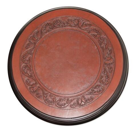 Handmade Elegant Pedestal Hand Tooled Leather Brown Mohena Wood Home Decor Furniture End Table (Peru)