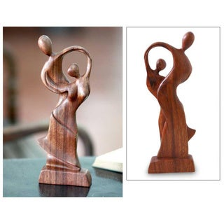 Wood 'Dancing Couple' Sculpture, Handmade in Indonesia