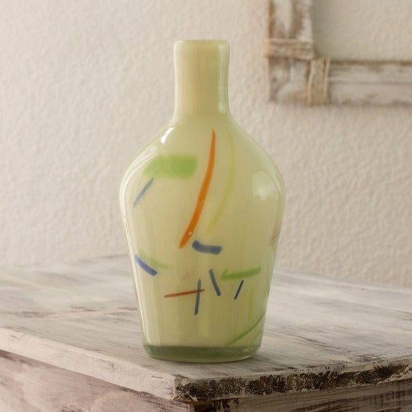 Handmade Blown Glass 'Fiesta' Vase (Guatemala)
