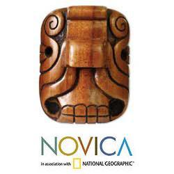 Handmade Cedar Wood 'Mystical Jaguar' Mask (El Salvador)
