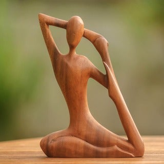 Yoga Stretch Elegant Meditation and Relaxation Unique Hand Carved Brown Suar Wood Decorator Art Work Sculpture (Indonesia)