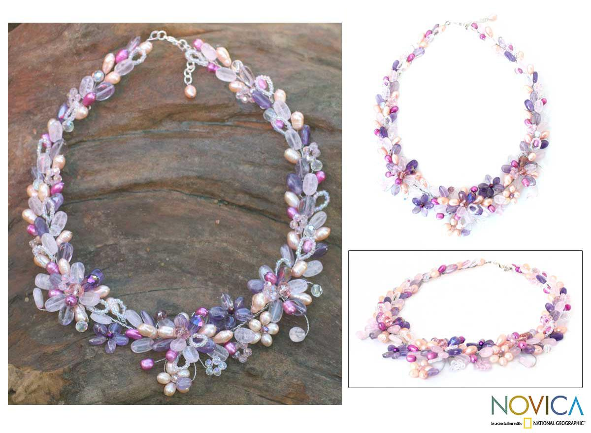 Handmade Pearl 'Lavender Romance' Necklace (5-5.5 mm) (Thailand)