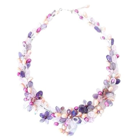 Handmade Pearl 'Lavender Romance' Necklace (5-5.5 mm) (Thailand) - Purple