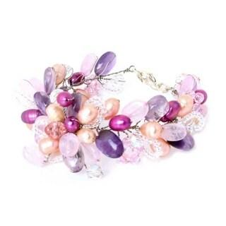 Handmade Pearl 'Lavender Romance' Flower Bracelet (5-5.5 mm) (Thailand)