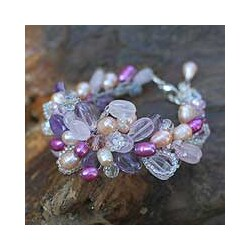 Pearl 'Lavender Romance' Flower Bracelet (5-5.5 mm) (Thailand)