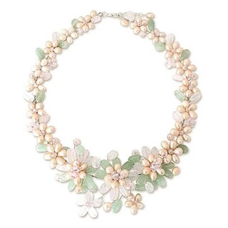 Handmade Pearl 'Spring Garland' Multi-gemstone Flower Necklace (Thailand)