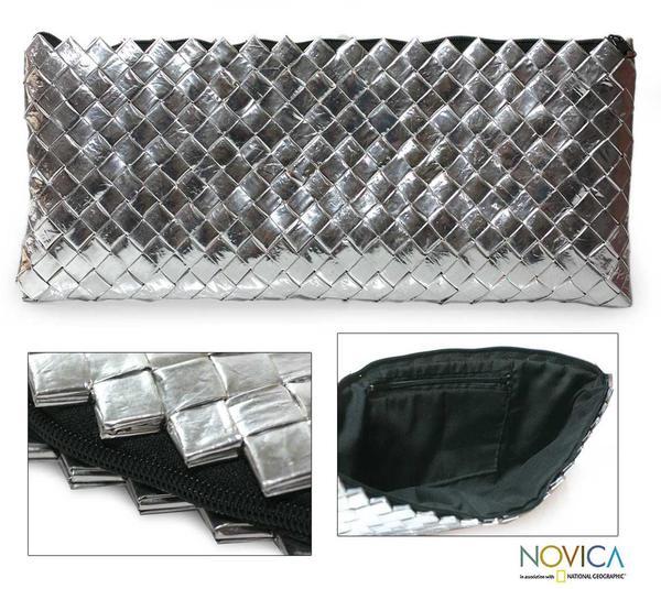 Handmade Recycled Metalized Wrapper 'Eco Splendor' Clutch Bag (Guatemala)