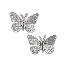 Handmade Sterling Silver 'Monarch Butterfly' Button 15mm Earrings (Mexico)