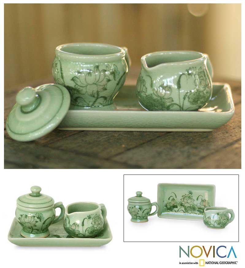Shop Handmade Celadon Ceramic \'Spring Lotus\' Sugar Bowl and Creamer ...