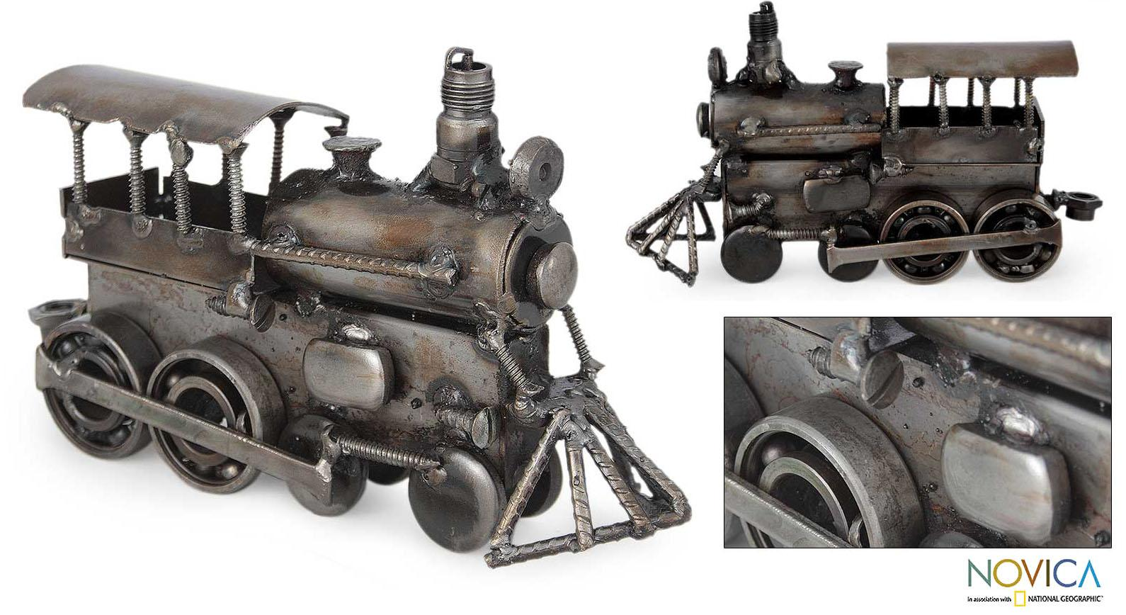Handmade Iron 'Rustic Steam Engine' Sculpture (Mexico)