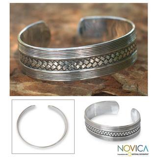 Handmade Sterling Silver 'Wisdoms' Cuff Bracelet (Thailand)