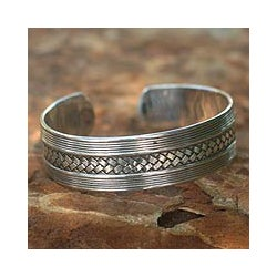 Sterling Silver 'Wisdoms' Cuff Bracelet (Thailand)