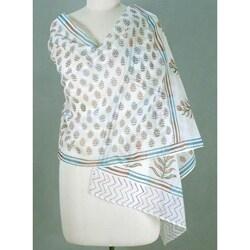 Handmade Chanderi Cotton and Silk 'Tropical Paradise' Shawl (India)