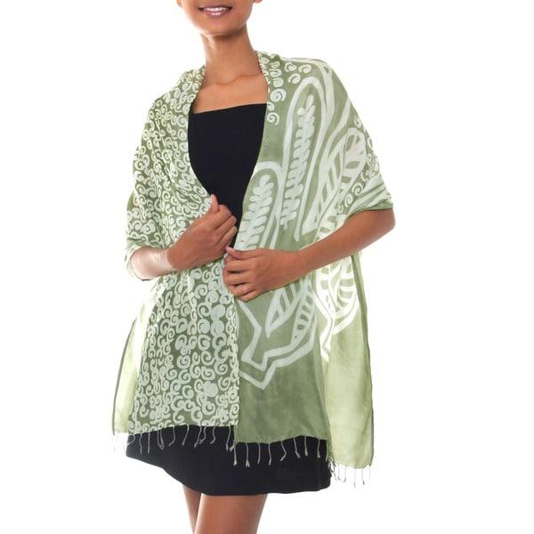 Silk 'Green Apple' Batik Sarong (Indonesia)