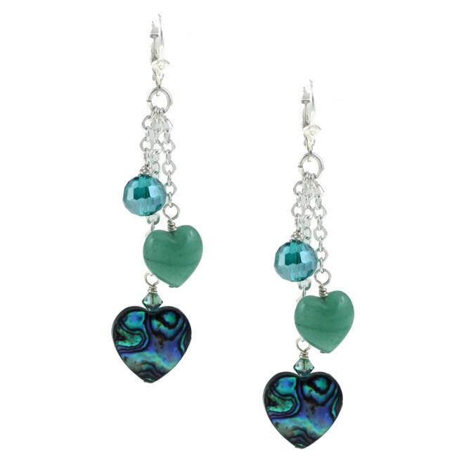 Lola's Jewelry Silver Paua, Crystal and Aventurine Heart Fringe Earrings