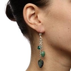 Lola's Jewelry Silver Paua, Crystal and Aventurine Heart Fringe Earrings - Thumbnail 2
