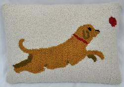 Jumping Dog Wool Decorative Pillow - Thumbnail 1