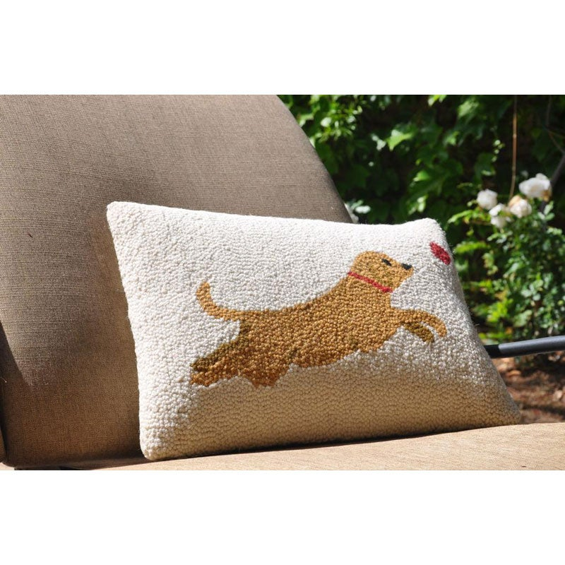 Jumping Dog Wool Decorative Pillow - Thumbnail 0